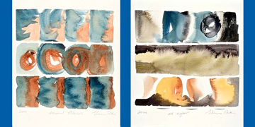 Two water color images which are evocative of land and sea.