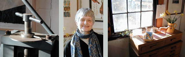 Photographs of the artist and her studio.